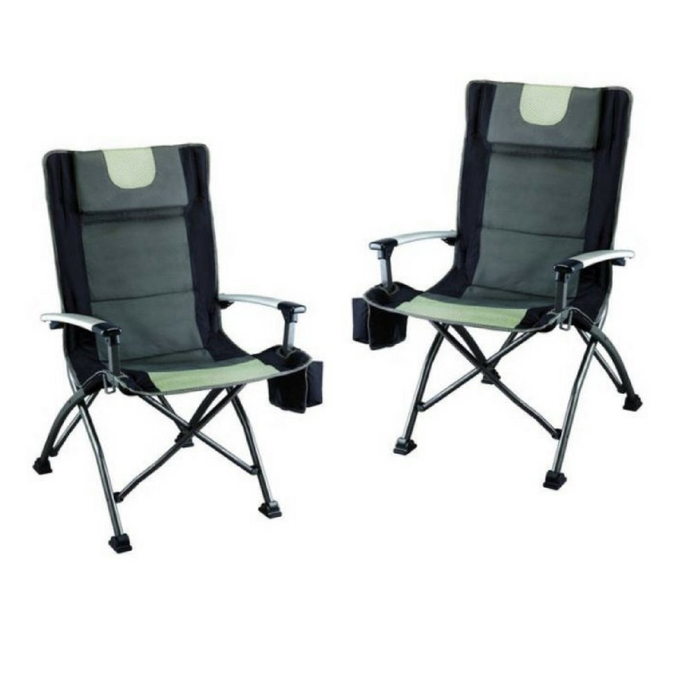 Ozark Trail High Back Chair, Ultra Durable Steel Frame, Adjustable Feet, With Cup Holder, Perfect Seat for Outdoor, Camping and Picnic