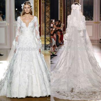 Exquisite Ball Gown Wedding Dress 2014 V-neck Long Sleeve Handmade ...