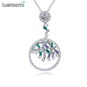 LUOTEEMI New Rare Trapezoidal Cut Cubic Zirconia Crystal White Gold Plated Jewelry Necklace Women