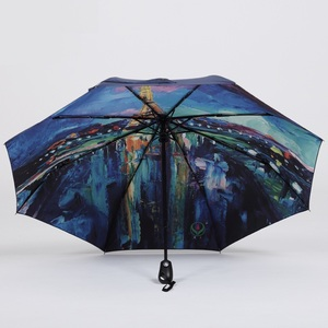 Custom design oil painting sun rain Umbrella automatic durable 3 Fold Anti UV parasol pattern Printed with Eiffel Tower