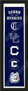 Heritage Banner Of Connecticut Huskies-Framed Awesome & Beautiful-Must For A Championship Team Fan! Most NCAA Team Banners Available-Plz Go Through Description & Mention In Gift Message If Need A different Team