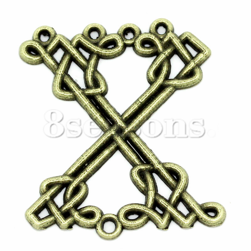 "Handmade Connectors Findings Alphabet/Letter""X"" Shape Antique Bronze Twist 3.1x2.7cm,50PCs"