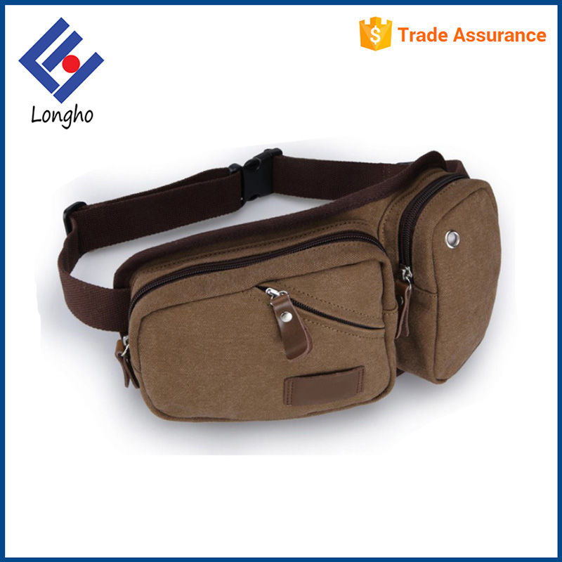 Customize PU zipper puller canvas fanny pack runner men elegant waist bag with mobile phone pouch