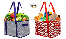 Eco-friendly Deluxe Collapsible Reusable shopping box Grocery bag with recycled cardboard walls