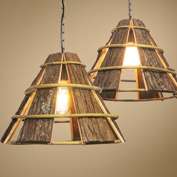 Comtemporary Wood Veneer Lamp Shade Pendant Bamboo Led Haing Light