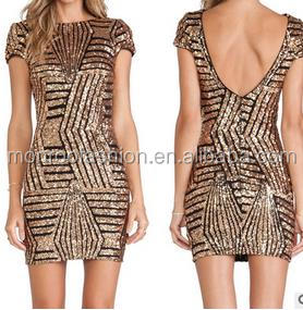 monroo Sexy ladies tunic wrap dress women bling bling golden sequin dress