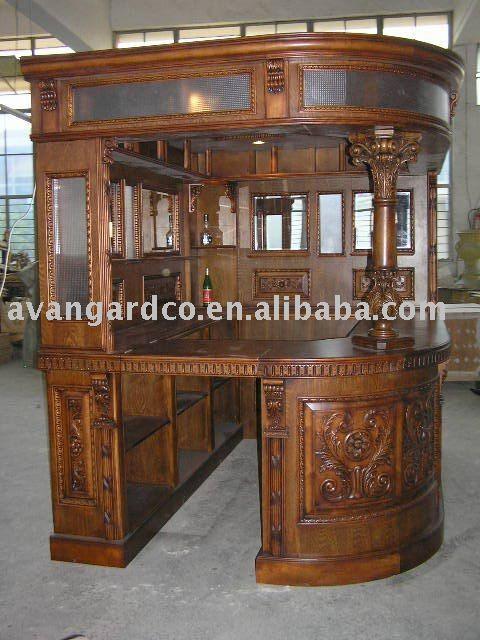 Americana y europea s lida barra de madera mueble bar for Muebles de madera para bar
