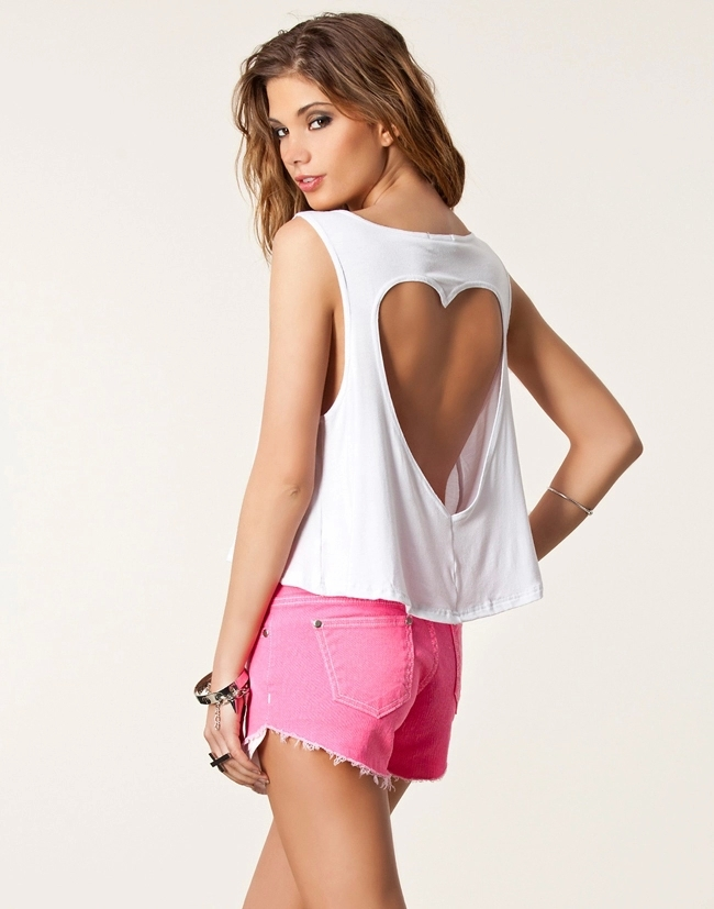 Sexy Heart Shaped Girls Loose Backless Tank Top Crop Tops For Women