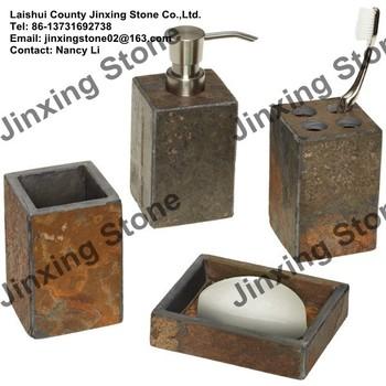 Rusty Slate Tumbler Liquid Soap Dispenser Soap Dish Box Tooth Brush Holder  Cotton Ball Holder Jar Slate Bathroom Accessories Set - Buy Slate