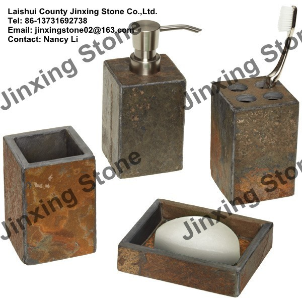 Rusty Slate Tumbler Liquid Soap Dispenser Soap Dish Box Tooth Brush Holder  Cotton Ball Holder Jar