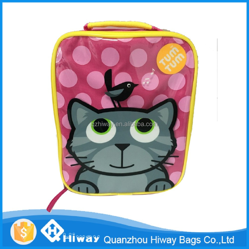 China supplier cheap polyester cartoon lunch backpack or lunch box bags for kids