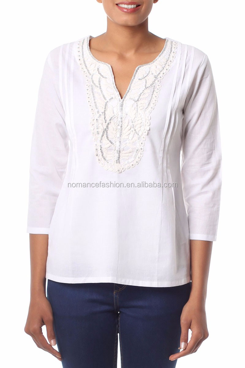 indian style embroidered tunic tops for women