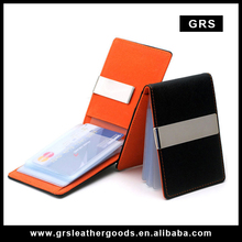 GRS-986,Mens Genuine Leather Silver Money Clip Slim Wallets Black ID Credit Card Holder