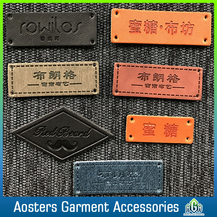 jeans leather labels custom good quality leather patch made in china