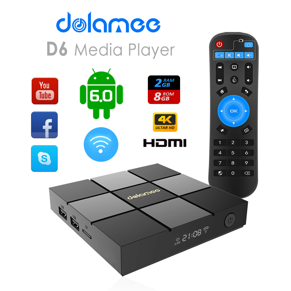 High speed Android 6.0 Amlogic S905X 8GB ram D6 netflix tv android tv box