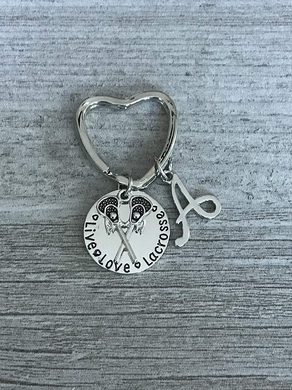 Get Quotations · Personalized Live Love Lacrosse Keychain with Letter Charm, Custom Lacrosse Gift, Girls Lax Jewelry