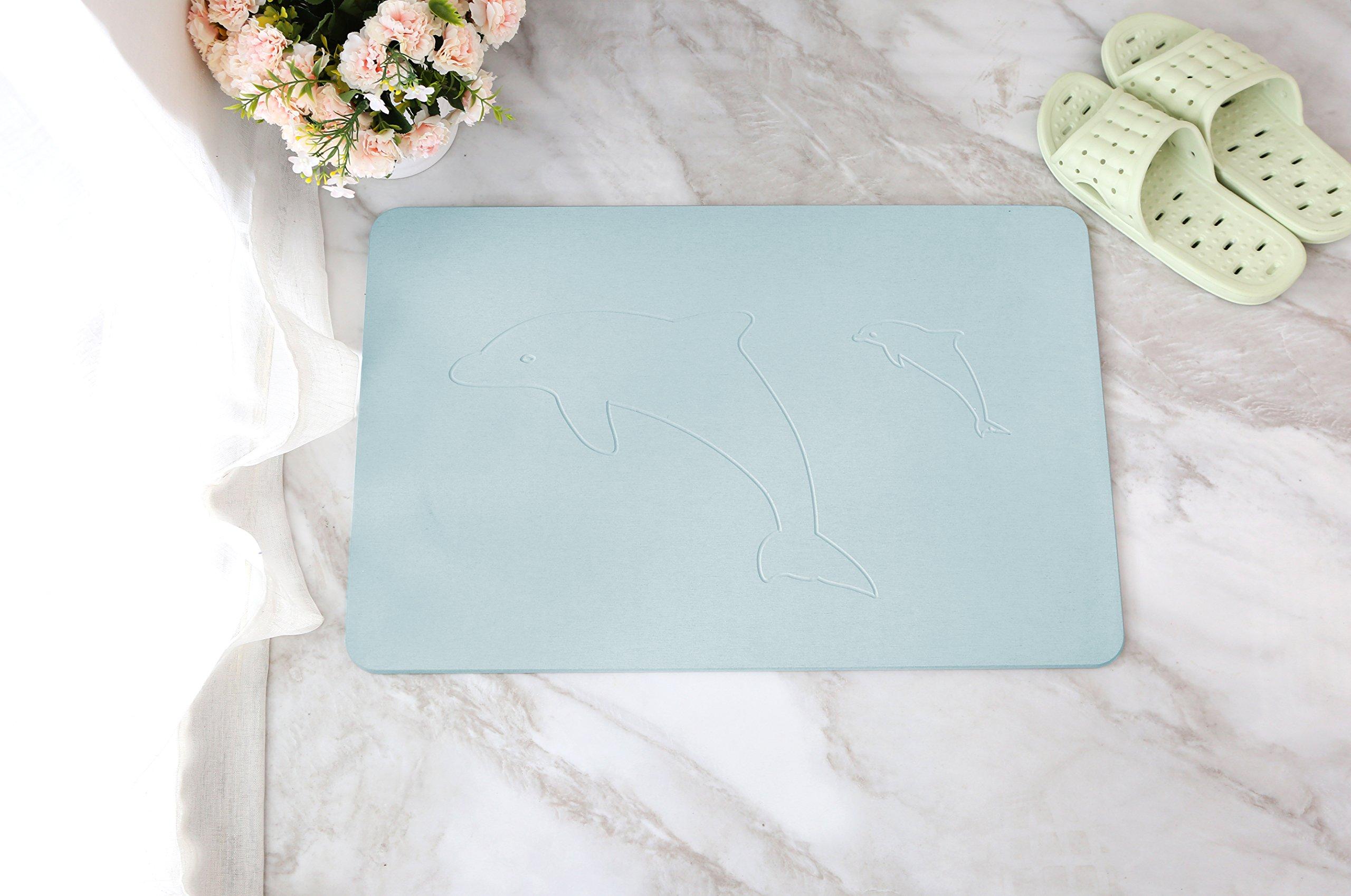 "Alpha Home Diatomaceous Earth Bath Mat Non-Slip Bathtub Mat Absorbent Fast Drying Antibacterial Bathroom Floor Rugs Carpet - 24"" x 15"", Blue"