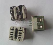 dual ports short body vertical type usb connector / usb connector female
