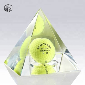 Personalized Egypt Crystal Pyramid With Plastic Golf Ball For Souvenir