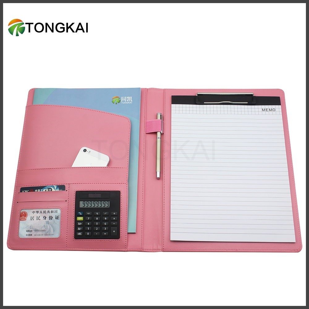 2020 Custom Brown Pink PU Leather Notepad Conference a4 Carry Folder with Calculator