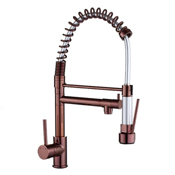 High arc chrome brass pull out spring kitchen mixer sink faucet