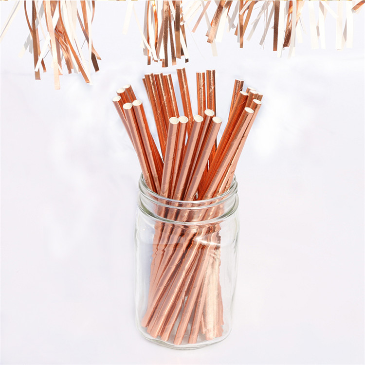 New selling rose gold drinking paper straws for Kids and Adults