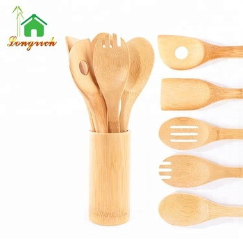 5 pcs High Quality Vintage Old Bamboo Unusual Cook Utensils Set With Spoon Fork Knife