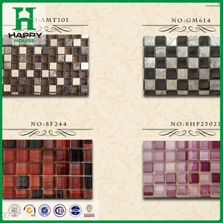 2017 fashion design marble stone glass mosaic tile