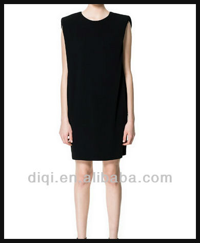 ladies black jersey dress with shoulder pats sleeveless o neck prom dress