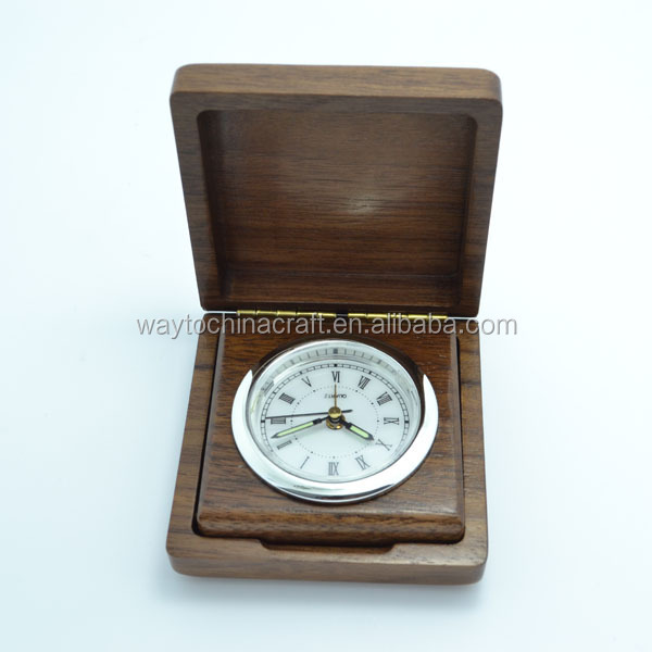 Luxury custom souvenir real wood small table clock