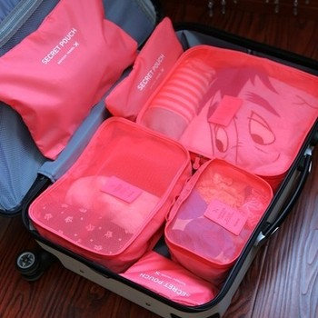 6pcs Set Portable Nylon Travel Hanging Clothes Luggage Storage Underwear Organizer Bags