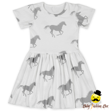 Horses Printed Short Sleeve White Color Dresses Baby Girl Clothes Boutique Summer Dress
