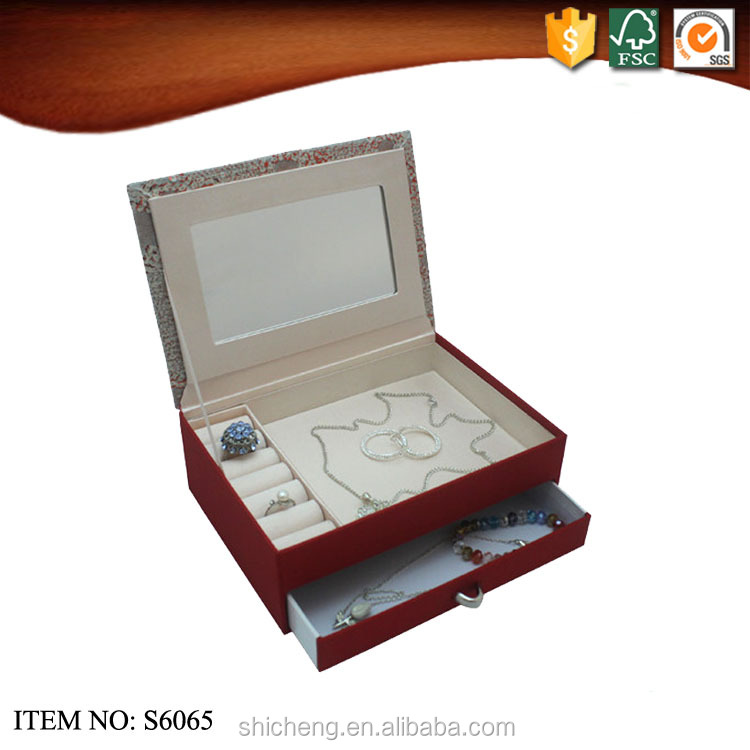 China manufacture velvet jewelry storage box with mirror