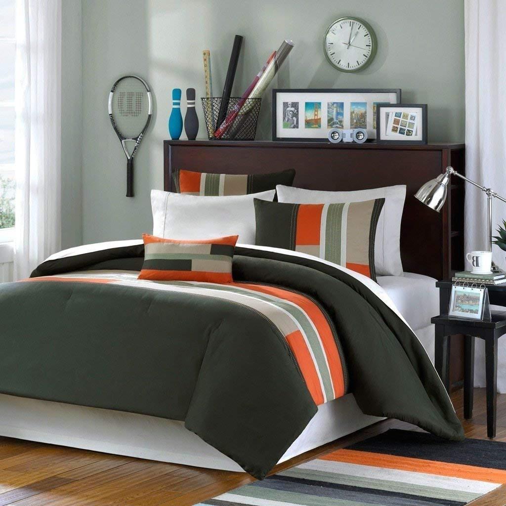 DP 4pc Girls Olive Green Black Maverick Comforter King Set, Contemporary Geometric Themed Teen, Polyester, Burnt Orange Grey Color Abstract Color Block Pattern Solid Color Kids Bedding