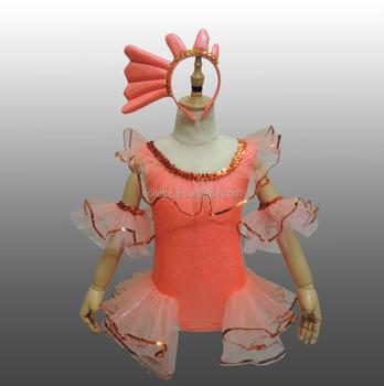 6c9519a03cd7 MBQ597 Child lovely animal orange lycra fish dance tutu dress costumes