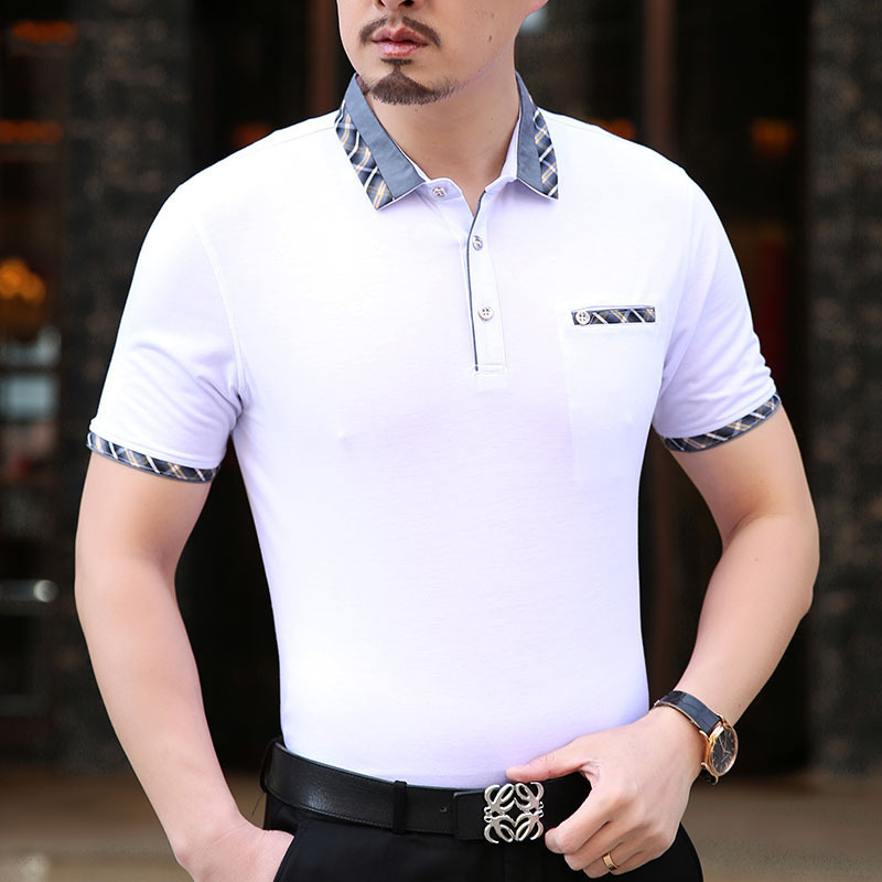Wholesale middle age formal style business man 's short sleeve polo shirt фото