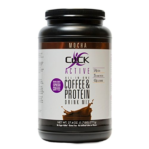 CLICK Active High Protein Coffee, Mocha Flavor, 27.4-Ounce Canister, 25g Protein Powder 21 Servings, Premium Whey Isolate Casein Blend, Double Shot Natural Espresso Coffee, No Added Sugar, Gluten Free