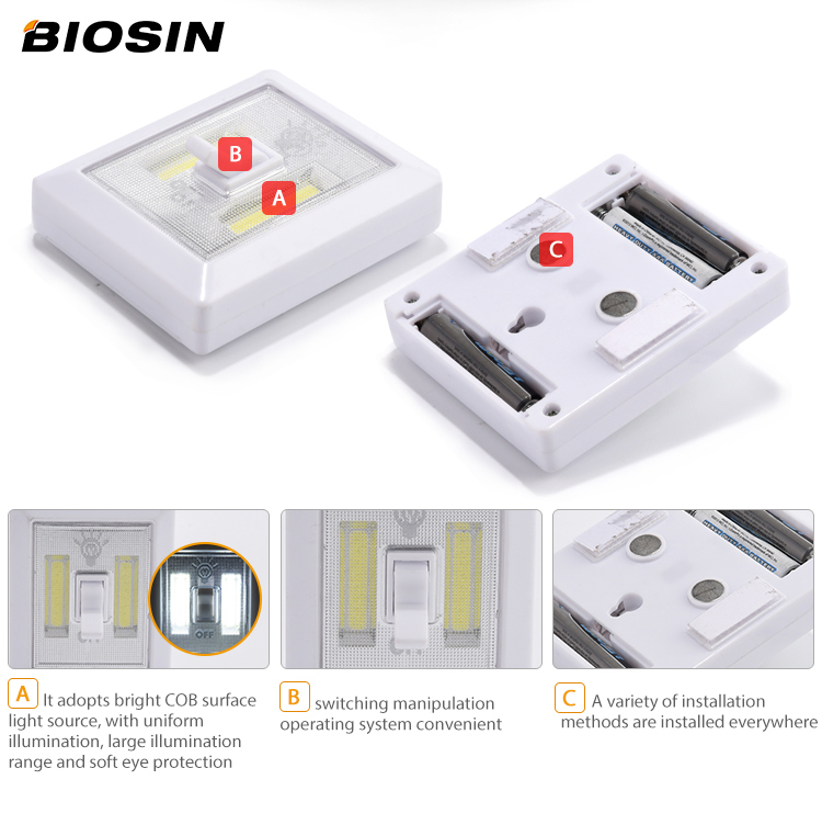 The best choice 3*AAA 2modes 150lumen ABS plastic 2*COB led light switch