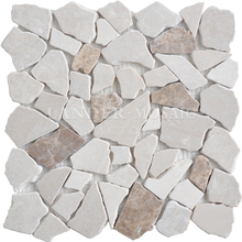 Lander Stone beige and brown color mixed marble mosaic tile pebble stone for outdoor floor good price