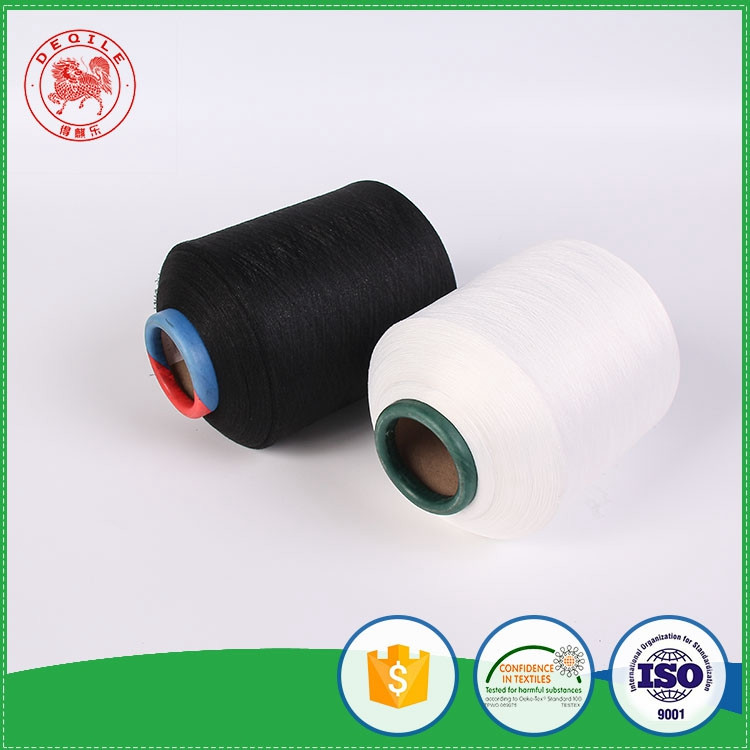 Deqile quality wholesale black and white polyester viscose spun yarn recycled polyester cotton core spun yarn