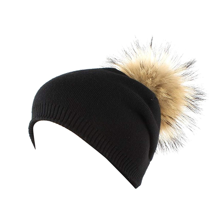 116c2fa2 Get Quotations · ZX101 Knitted Beanie Hat Cozy Warm Winter Snowboarding Ski  Hat Faux Fur Ball Warm Cap Women