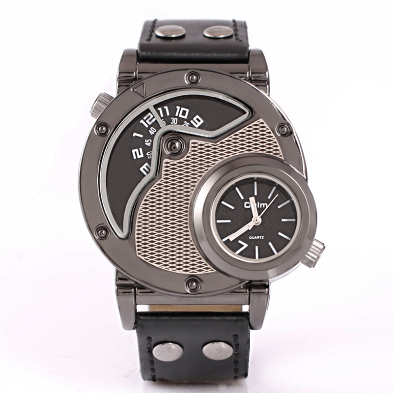 New Designer Two Time Zone Mens Reloj Watches Oulm Japan Movement Watches Miltiary Hot sales Men Army Watches