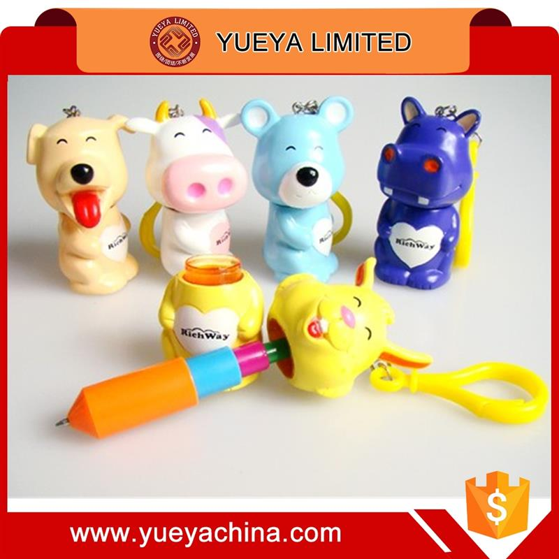 8 designs cute cartoon animals shaped stretchable pens and keychain 2 in 1