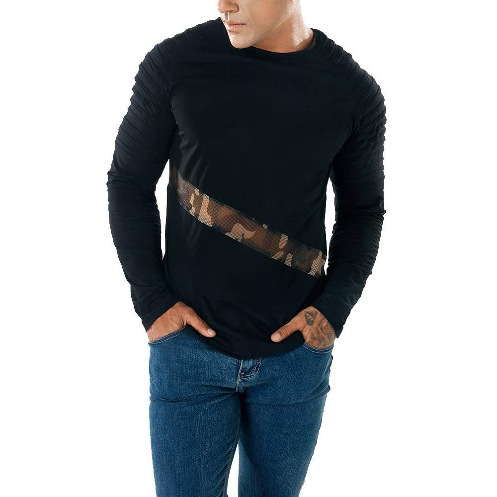 03dc716c Get Quotations · Auwer Men's Long Sleeve T-Shirts Slim Fit Casual Mesh Patchwork  Muscle-Tee Blouse