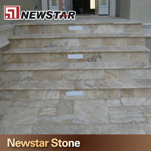 Newstar Coffee Yellow Color Travertine Stair Treads