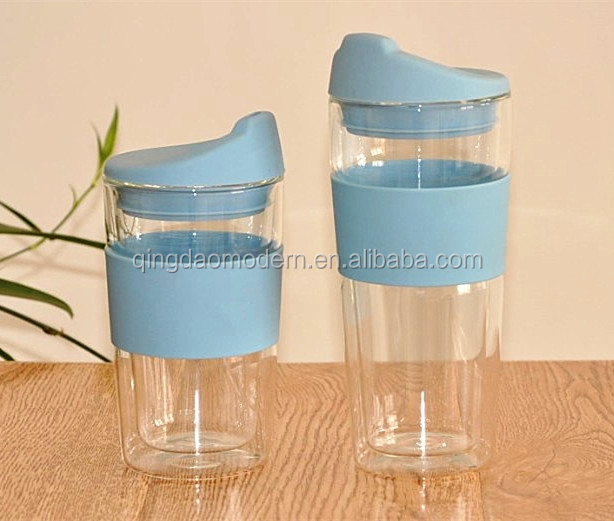 temperature controlled pyrex glass coffee cup with silicone lid