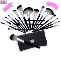 custom logo makeup brushes + eyebrow shaper + rulos 20pcs cosmetic kit