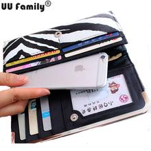 2016 UU Family New Zebra Purse Women Zebra Wallet Checkbook Lady Clutch Black White Stripe Wallet iPhone 6S Holder portmonee