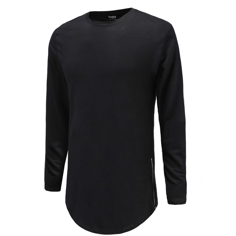 2016 New Trends Men T shirts Super Longline Long Sleeve T-Shirt Hip Hop Arc hem With Curve Hem Side Zip Tops tee