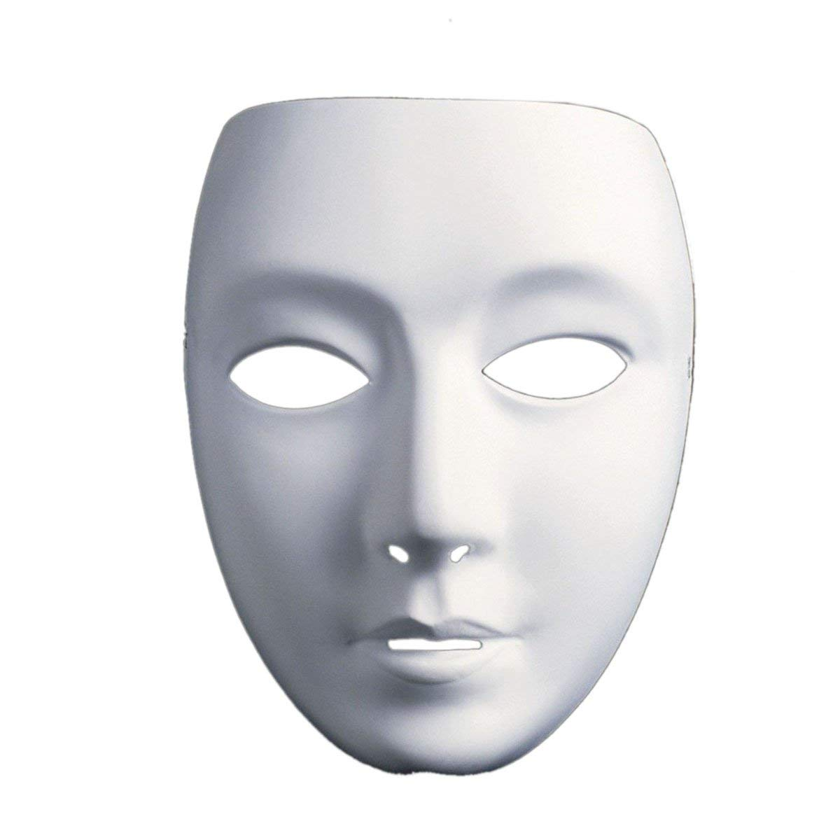 Full Face Theater Mask, DIY Masquereade Mask For Party, weddings, DIY Mardi Gras, Cosplay Costume, Anonymous Venetian Carnival Mask and Dance Paintable Paper Mask